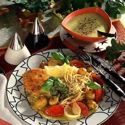 Turkey schnitzel with vegetables and spaghetti