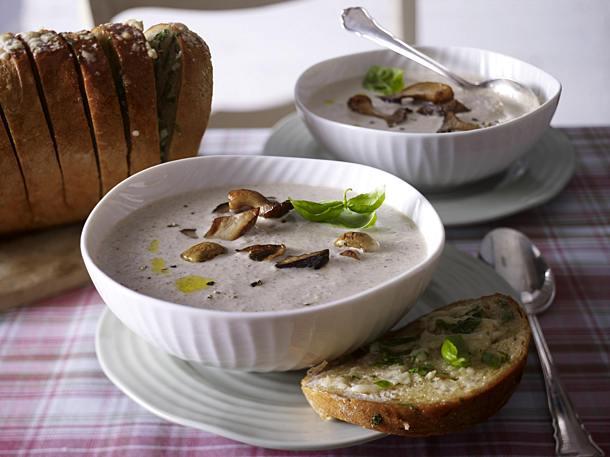 Cream of forest mushroom soup with warm garlic parmesan bread