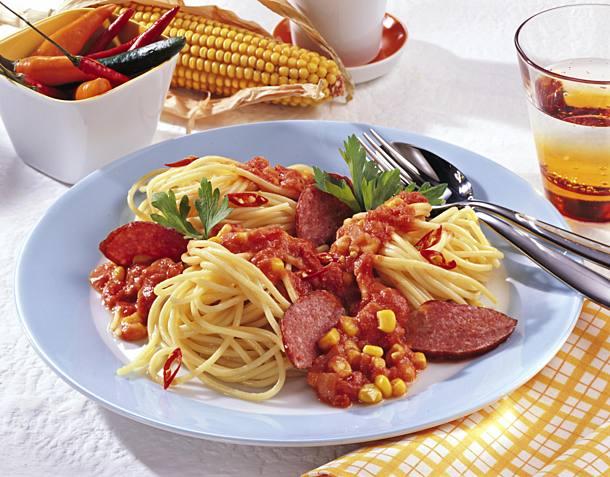 Spaghetti with barbecue sauce