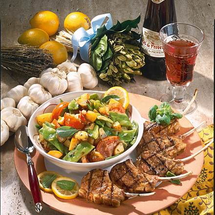 Provencale lamb chops with beans, potatoes and tomatoes