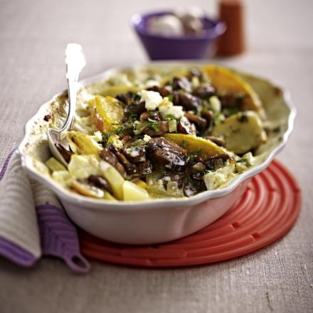 Pumpkin and potato casserole with mushroom topping