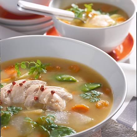 Spring soup with chicken