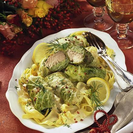 Salmon and savoy cabbage rolls
