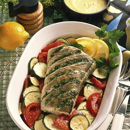 Haddock on bed of vegetables