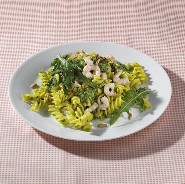 Fusilli with shrimp and rocket pesto