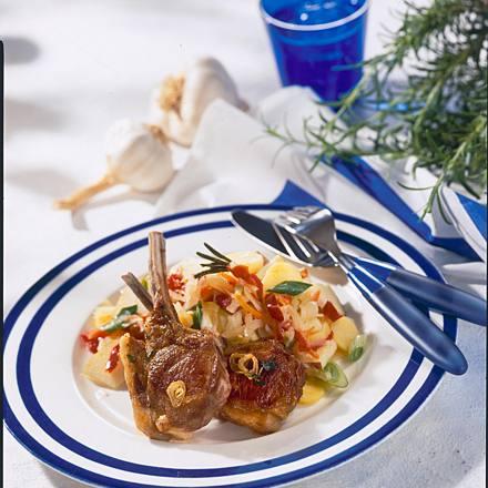 Balkan salad and lamb stalk cutlets