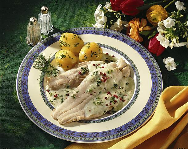Trout fillets with cress foam sauce