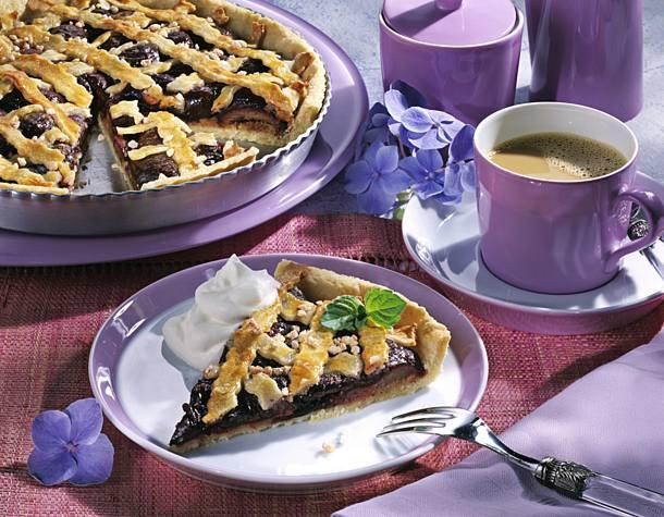 Plum marzipan tart