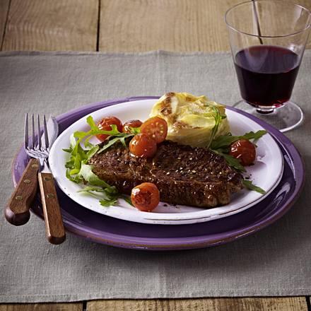 Rump steak with potato gratin
