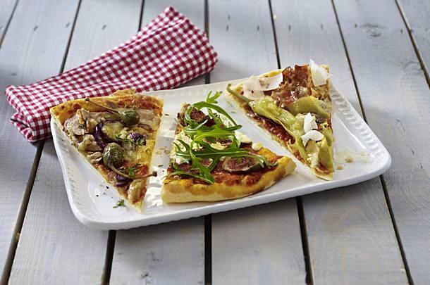 Three types of pizza