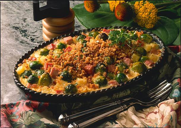 Brussels sprouts and potato casserole