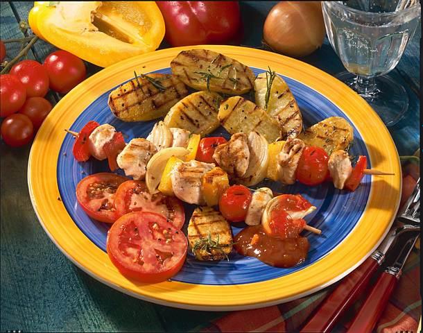 Colorful vegetable chicken skewers