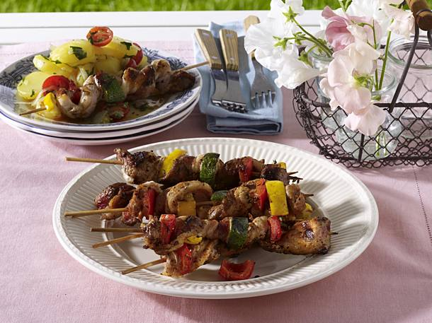 Fire belly skewers with potato salad