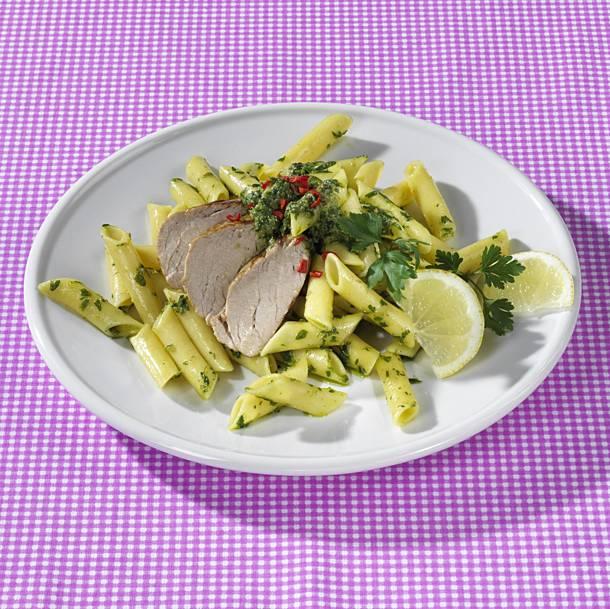Penne with pork tenderloin and salsa verde