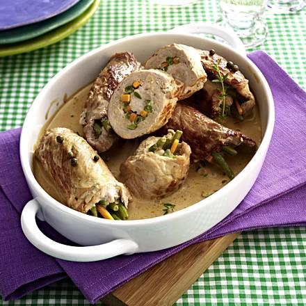Schnitzel rolls with potato gratin