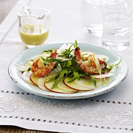 Radish and apple carpaccio (protein food combining dish)