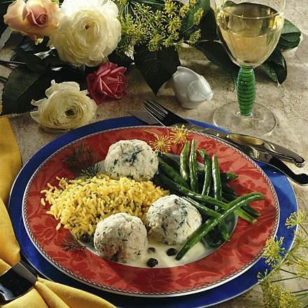Fish dumplings with saffron rice